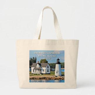 Aussicht-Hafen-Leuchtturm, Maine-Postkarte Jumbo Stoffbeutel
