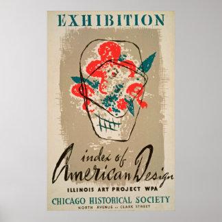 Ausstellungs-historische Gesellschafts-Vintages Poster