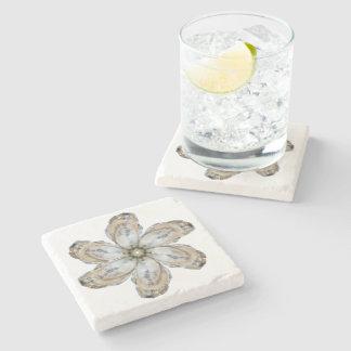 Austern-Blumen-Marmor-Untersetzer - entwerfen Sie Steinuntersetzer