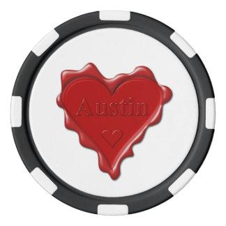 Austin. Rotes Herzwachs-Siegel mit Namensaustin Pokerchips