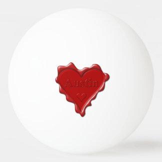Austin. Rotes Herzwachs-Siegel mit Namensaustin Tischtennis Ball