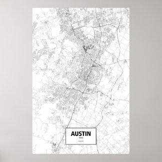Austin, Texas (Schwarzes auf Weiß) Poster