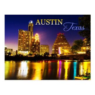 Austin, Texas-Skyline nachts Postkarte