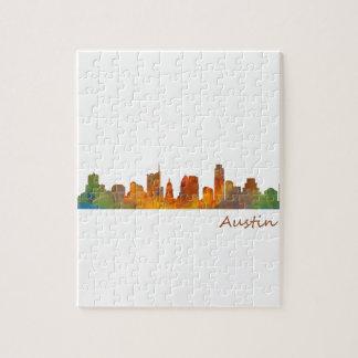 Austin Texas watercolor skyline v1 Puzzle