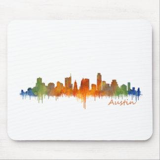 Austin Texas watercolor skyline v2 Mousepad