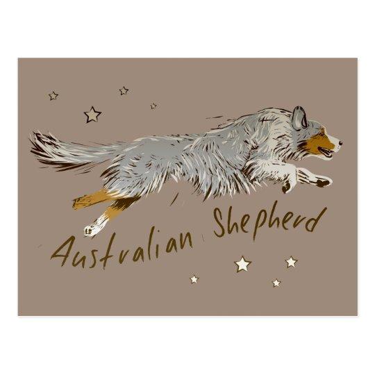 Australian Shepherd, jumping Postkarte