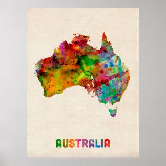 Australien-Aquarell-Karte Poster