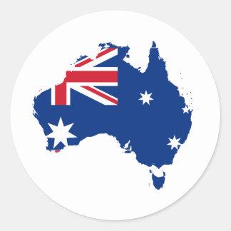 Australien-Flagge in Form Australiens Runder Aufkleber