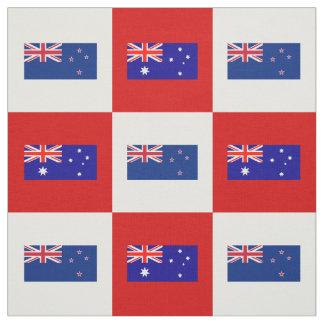 Australien-Flagge, Neuseeland-Flagge auf Rotem u. Stoff