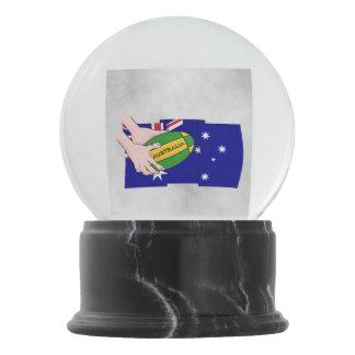Australien-Flaggen-Rugby-Ball-Cartoon-Hände Schneekugel