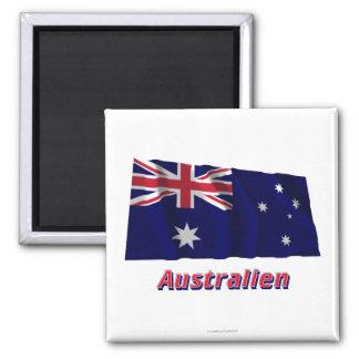 Australien Fliegende Flagge MIT deutschem Namen Quadratischer Magnet