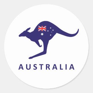 AUSTRALIEN-KÄNGURU-FLAGGEN-AUFKLEBER RUNDER AUFKLEBER
