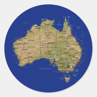 Australien-Karten-Aufkleber Runder Aufkleber