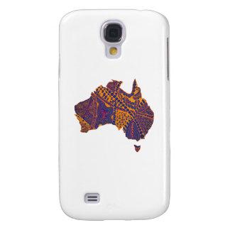 Australien-Karten-Gekritzel-orange Lila Galaxy S4 Hülle