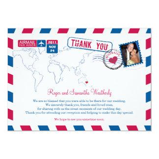 Australien-Luftpost-Hochzeit danken Ihnen 12,7 X 17,8 Cm Einladungskarte