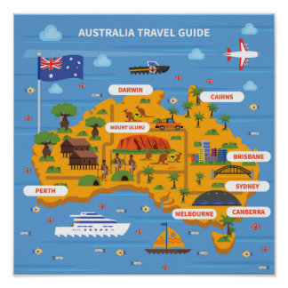 Australien-Reise-Führer-Plakat Poster