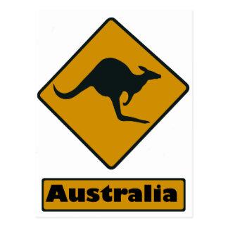Australien-Verkehrsschild - Känguru-Überfahrt Postkarte