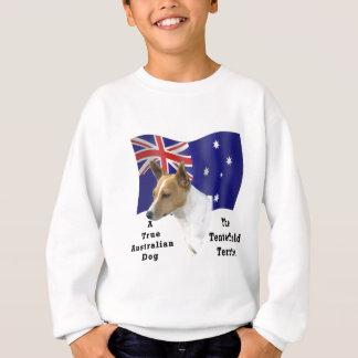 Australier Tenterfield Terrier TAN/Weiß mit Flagge Sweatshirt