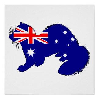 Australische Flagge - Frettchen Poster