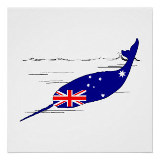 Australische Flagge - Narwhal Poster