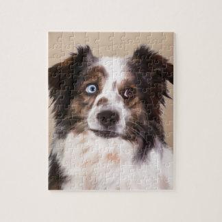Australische Schäfer-HundeÖlgemälde-Kunst Puzzle