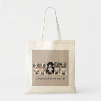 Australische Schäfer-Welpen-Taschen-Tasche Budget Stoffbeutel