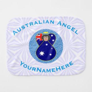 Australischer Engel auf weißem und blauem Squiggly Spucktücher