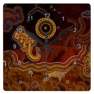 Australischer Ureinwohner Dreamtime u. Tiere Quadratische Wanduhr