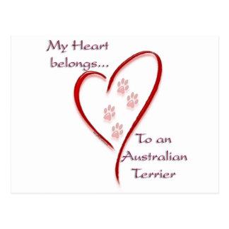 Australisches Terrier-Herz gehört Postkarte