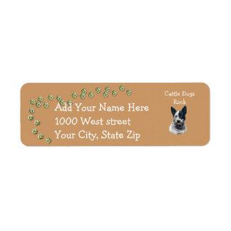 Australisches Vieh-Hundegold Pawprints Rücksendeetikett