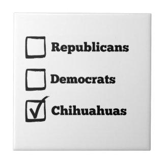 Auswahl-Chihuahua! Politische Wahl-Chihuahua Kleine Quadratische Fliese