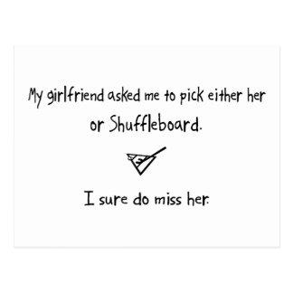 Auswahlfreundin oder Shuffleboard Postkarte