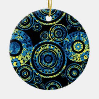 Authentische eingeborene Kunst - Paisley-Entwurf Rundes Keramik Ornament