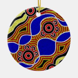 Authentische eingeborene Kunst Rundes Keramik Ornament