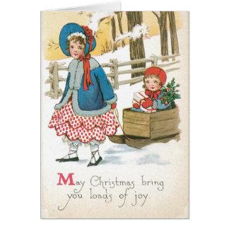 Authentische Vintage Weihnachtskarte mit Kindern Karte
