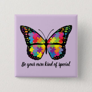 Autism Awareness Butterfly Puzzle Piece Quadratischer Button 5,1 Cm