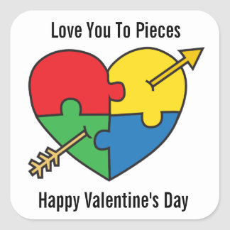 Autism Awareness Valentine's Day Puzzle Heart Quadratischer Aufkleber