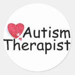 Autism Therapist (Hrt Puzzle) Round Sticker