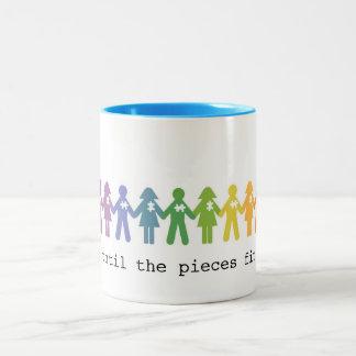 Autismus-Annahme-Tasse… Bis die Stücke passten Zweifarbige Tasse