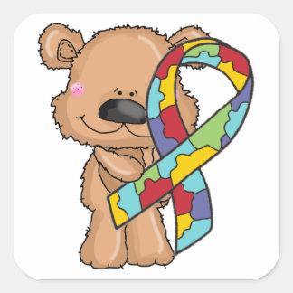 Autismus-Bewusstseins-Band-Bärn-Aufkleber Quadratischer Aufkleber