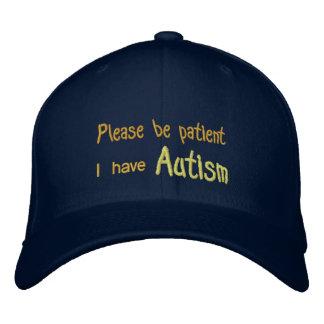 Autismus-Bewusstseins-Hut mit Namen und des Bestickte Baseballkappe