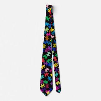 Autismus-Bewusstseins-Puzzlespiel-Muster-Schwarzes Krawatte
