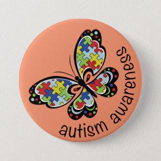 Autismus-Bewusstseins-Puzzlespiel-Schmetterling Runder Button 7,6 Cm
