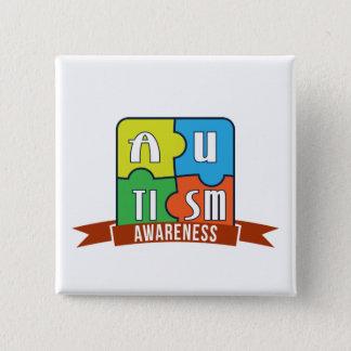 Autismus-Bewusstseins-Typografie-Grafik-Knopf Quadratischer Button 5,1 Cm