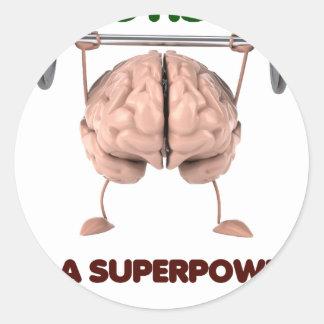 Autismus ist Supermacht, anhebendes Runder Aufkleber