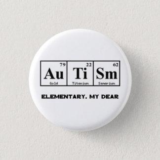 Autismus, Periodensystem-Elemente u. Sherlock Runder Button 3,2 Cm