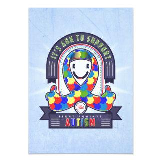 Autismus - Retro Wohltätigkeit-Band - Einladung 12,7 X 17,8 Cm Einladungskarte