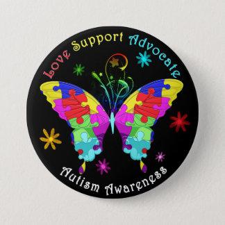 Autismus-Schmetterling Runder Button 7,6 Cm
