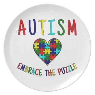 Autismus-Umarmung das Puzzlespiel Teller