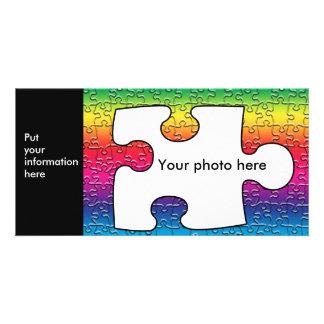 Autismuspuzzlespielstück-Fotokarte, Schablone Individuelle Photo Karten